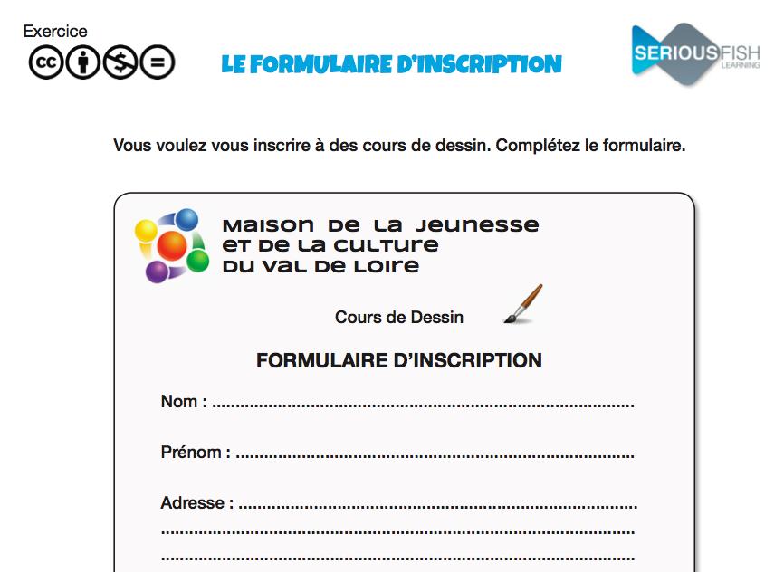 La fiche d inscription serious fish learning solutions for D et co inscription